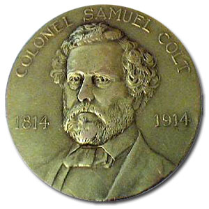 Commemorative Samuel Colt Medallion (1814-1914) in 10k gold.